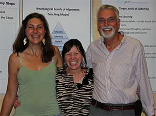 Helen Attridge with two alumni of ICF-approved coach program